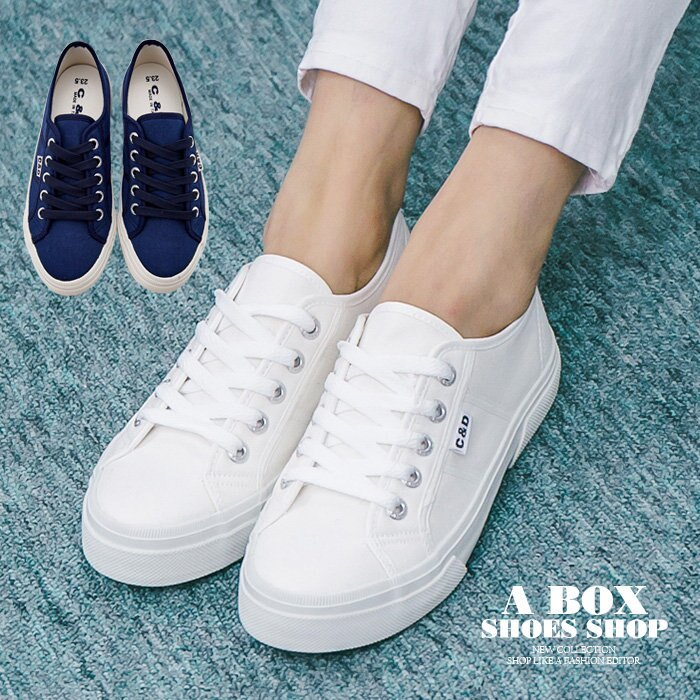 格子舖*【KB051】MIT台灣製 嚴選時尚布面 基本款校園素面 綁帶布面鞋/帆布鞋 2色 0