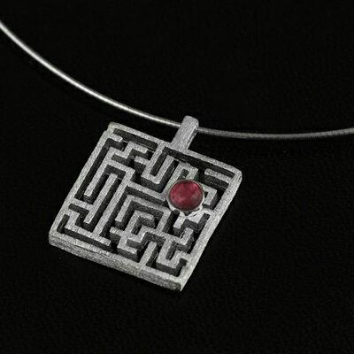 ~925純銀項鍊 碧璽吊墜~鏤空迷宮 情人節生日 女飾品3色73gm36~ ~~米蘭 ~
