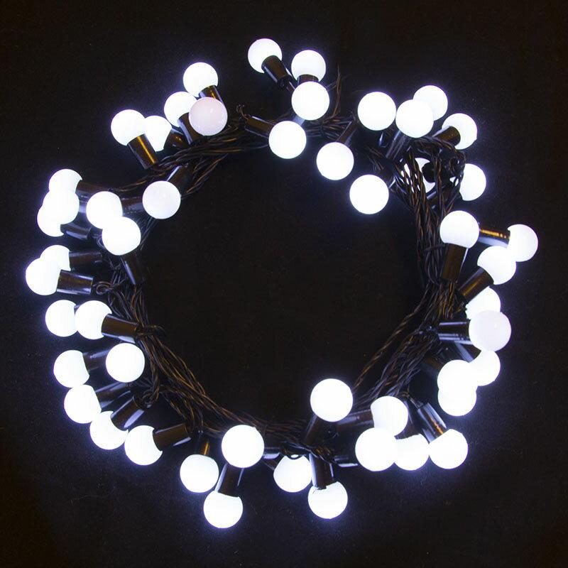 aleko el75ledbwh 75 led white ball string light christmas light 32 feet 0