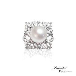大東山珠寶 璀璨光芒 純銀晶鑽天然珍珠戒指