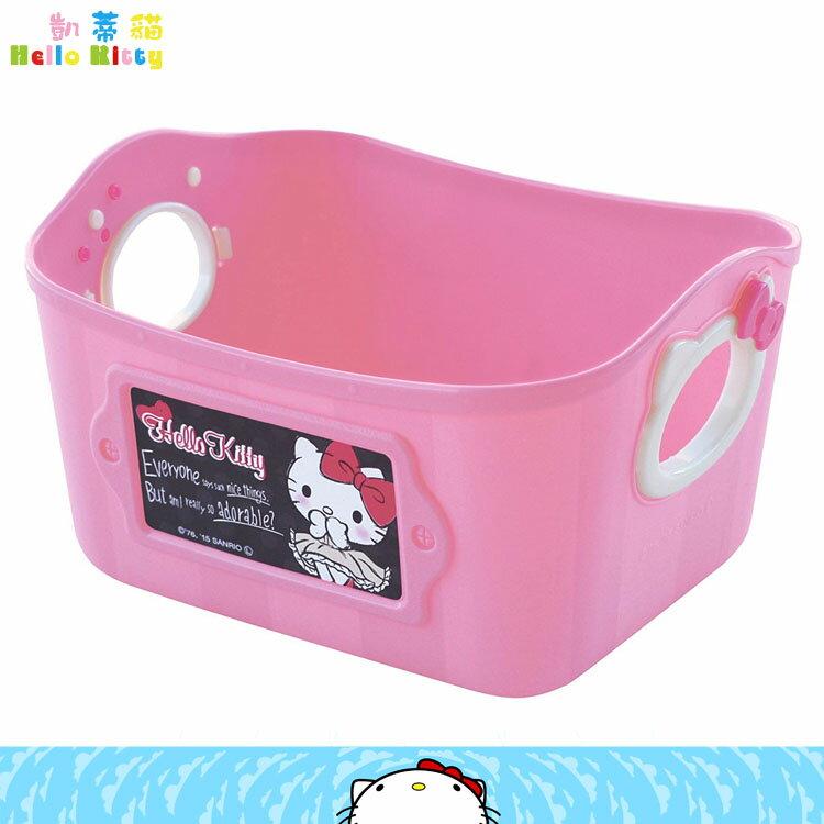 製 三麗鷗 凱蒂貓 Hello Kitty 手提籃 收納籃 小物籃 置物籃 粉色   34