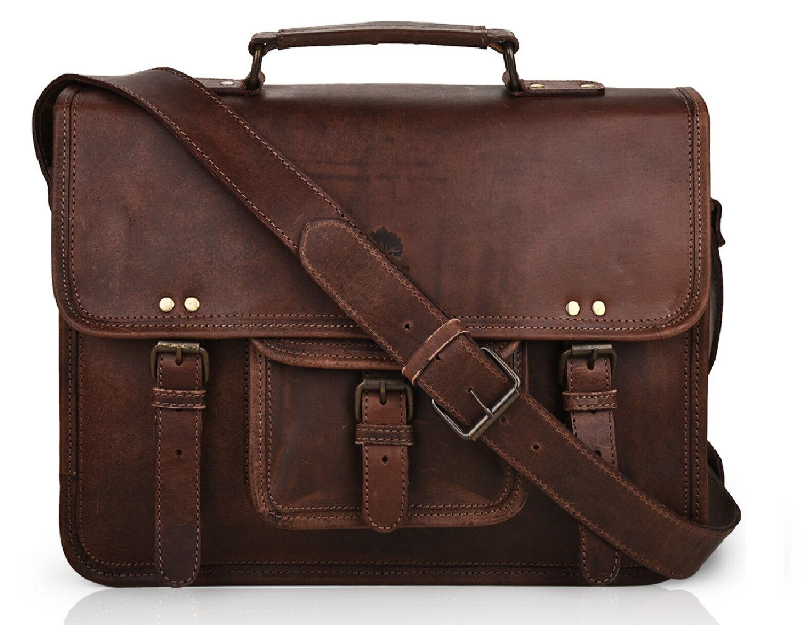 15 Inch Leather Vintage Rustic Crossbody Messenger Courier Satchel Bag Gift Men Women Business Work