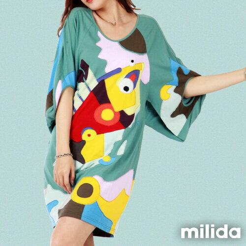【Milida,全店七折免運】五分袖寬鬆舒適洋裝 1