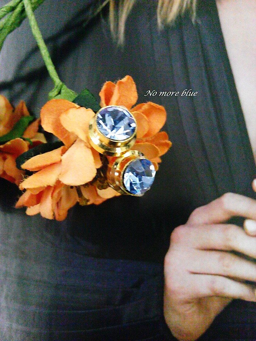 No more blue 小圓點耳環^(施華洛世奇水鑽 黃銅 24K金 7色  款 飾品