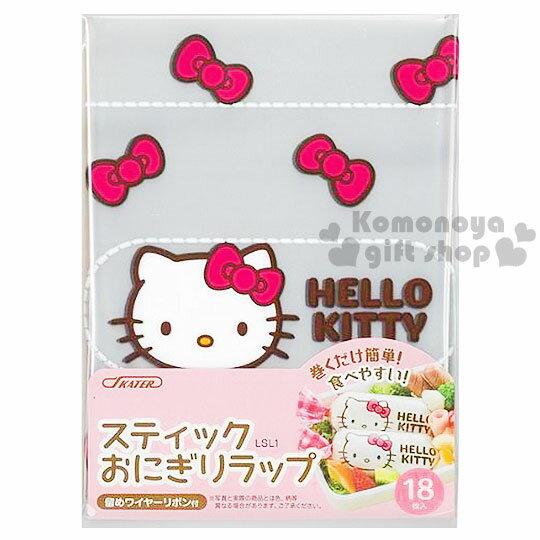 〔小禮堂〕Hello Kitty 日製長型飯糰包裝袋《18入.透明.大臉.蝴蝶結》