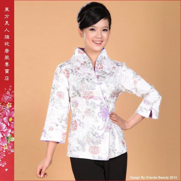 東方美人旗袍唐裝專賣店 淡淡紫香。中國風精緻花扣印花棉七分袖唐裝外套