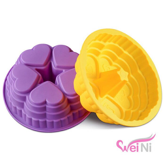 wei~ni 矽膠模 心連心城堡 蛋糕模 矽膠模具 巧克力模型 冰塊模型 皂模 製冰盒 餅