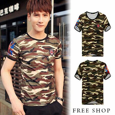Free Shop~QTJT529~日韓風格英國國旗盾牌貼布袖口滾邊印花迷彩圓領棉質短袖上