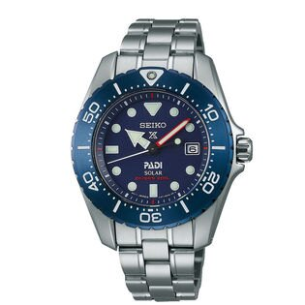 SeikoProspexV147-0BD0B(SBDN035J)PADI聯名鈦金屬太陽能潛水腕錶藍面38mm