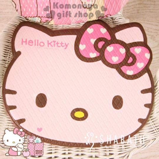 〔小禮堂韓國館〕Hello Kitty 造型坐墊《小.軟式.粉.大臉型.愛心蝴蝶結》居家.汽車內使用