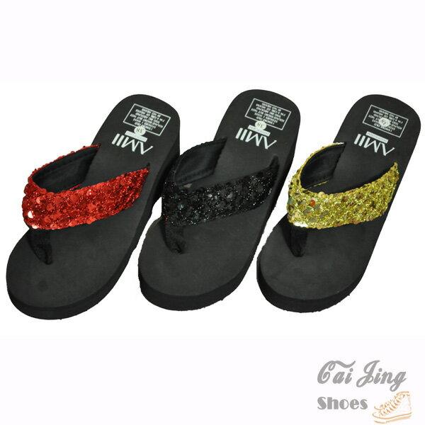 ◆人字拖◆ 風厚底鬆糕底防滑底涼拖鞋 沙灘亮片人字拖 夾腳拖鞋~黑色 紅色 金色~采靚衣飾