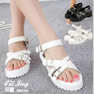 ◆現貨速達◆簡約時尚仿羊紋皮環扣低跟涼鞋.黑色/白色 ★采靚衣飾精品★