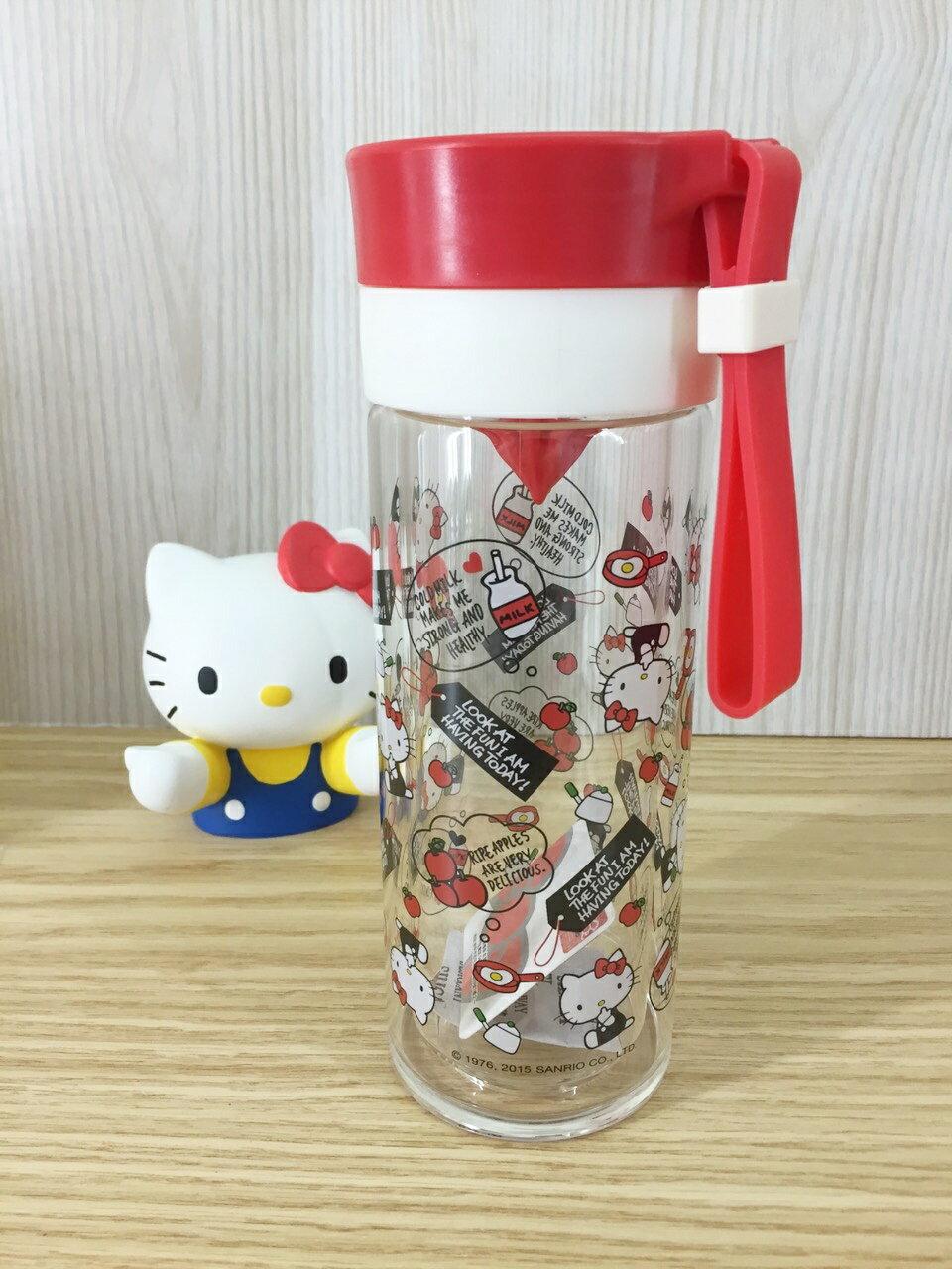 【真愛日本】15061800028 雙層耐熱玻璃檸檬瓶-紅 三麗鷗 Hello Kitty 凱蒂貓 水瓶 水杯 居家 廚房 正品 限量