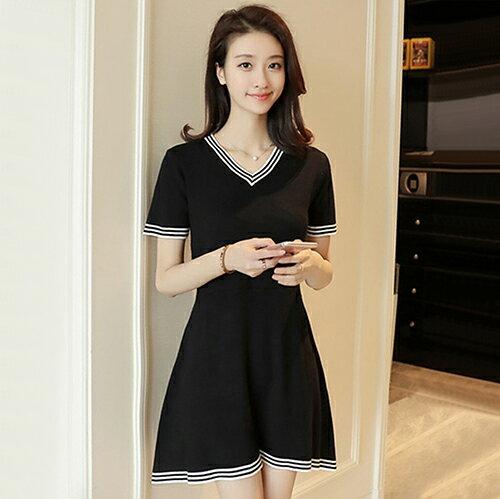 雪紡配色連身裙(M~4XL) 【OREAD】 1