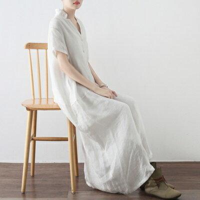 連身長裙寬版連衣裙-文藝優雅氣質前排釦女上衣2色73sm16【獨家進口】【米蘭精品】