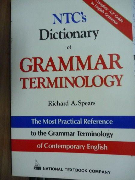 【書寶二手書T9/語言學習_QLL】NTC's Dictionary of GRAMMAR …