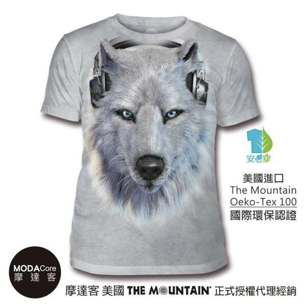 【摩達客】(預購)美國TheMountain都會系列DJ白狼中性修身短袖T恤