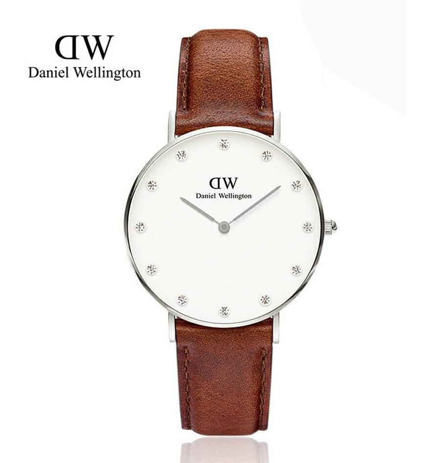 瑞典正品代購 Daniel Wellington 0960DW  銀 玫瑰金  真皮 錶帶 男女錶 手錶腕錶 34MM 0