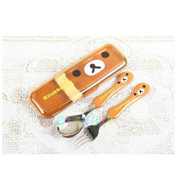 韓國製懶懶熊拉拉熊不鏽鋼湯叉組透明收納盒開學必備環保餐具環保韓國進口正版463981