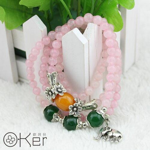 旺桃花粉紅水晶大象綴飾多圈手鍊 O-Ker KAS0291