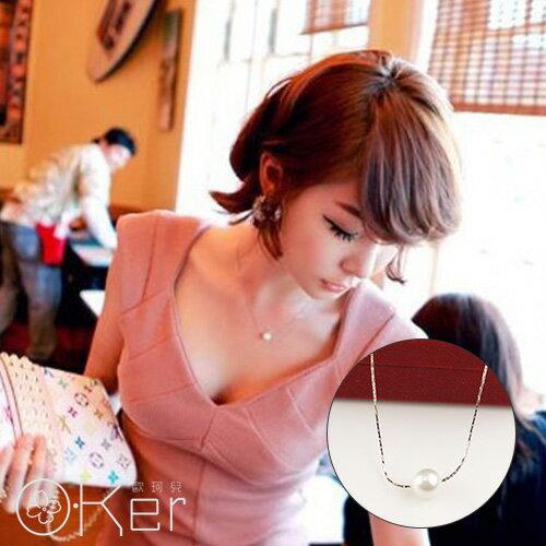 珍珠短款轉運鎖骨項鍊O-Ker歐珂兒KAX0478