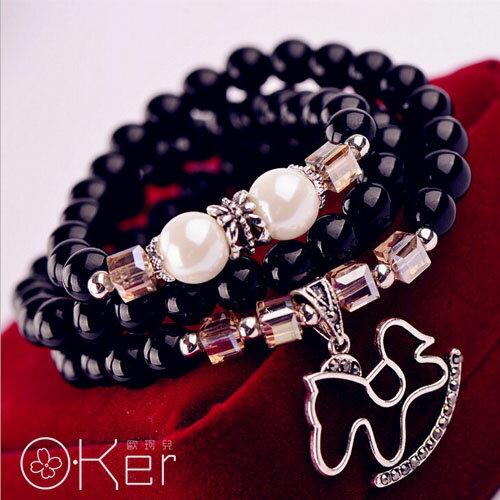 天然水晶星空藍砂石珍珠鏤空小馬綴飾多圈手鍊 時尚手鍊 O-Ker KAS355-C