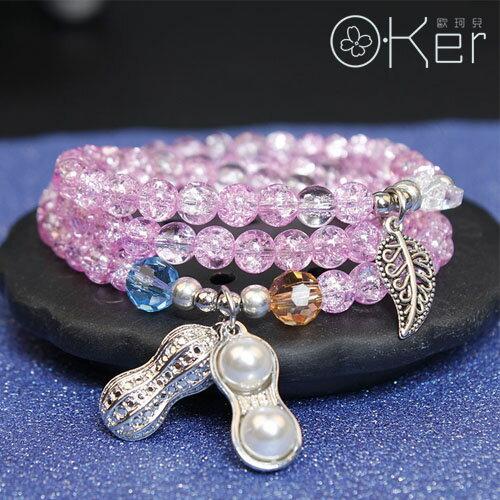 天然水晶手鍊粉爆花石花生綴飾招財多圈手鍊熱銷款O-KerKAS391