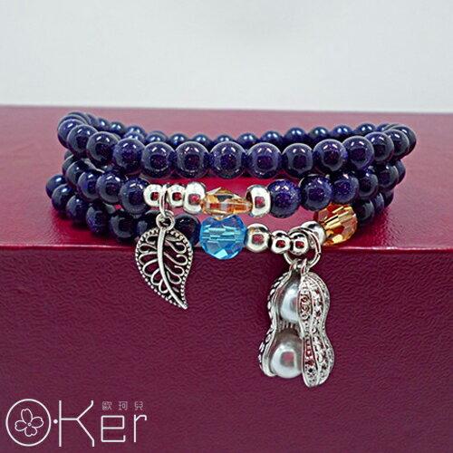 天然藍紗時水晶花生數頁綴飾多圈手鍊O-KerKAS417