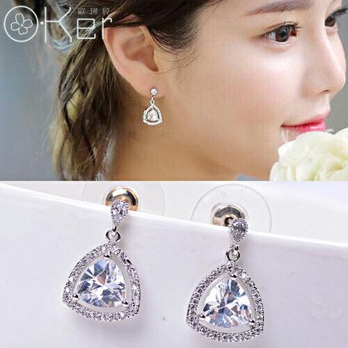 韓劇同款百搭氣質亮鑽幾何形耳環優雅OL款O-KerKAE414