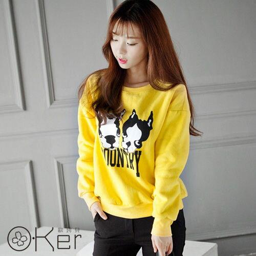 韓國街頭流行狗頭印花內刷絨大學上衣大學T百搭上衣O-KerKK3985