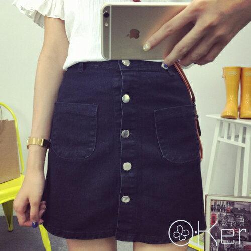 韓款-宋惠喬同款獨家基本款雙口袋排釦高腰A字裙O-KerLL1382-C