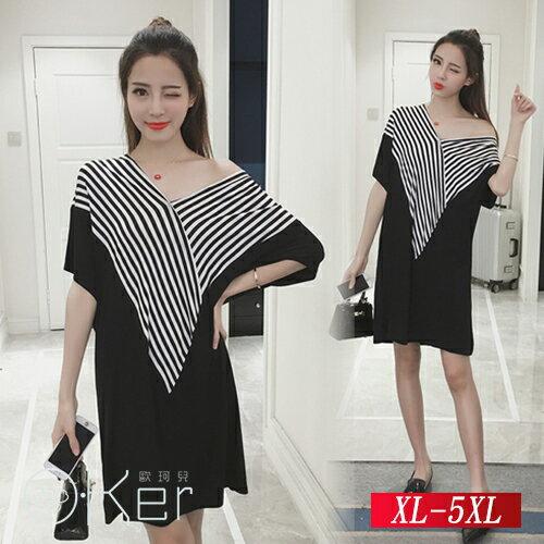 夏裝新款時尚條紋拼接蝙蝠袖連衣裙 XL-5XL O-Ker歐珂兒 140902-C
