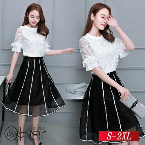 時尚氣質小香風連衣裙S-2XLO-Ker歐珂兒14212-C
