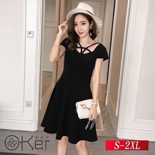 純色V領短袖連衣裙S-2XLO-Ker歐珂兒143083-C