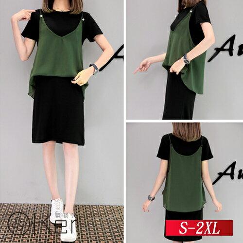 假兩件休閒圓領短袖寬鬆連衣裙 S-2XL O-Ker歐珂兒 14666(149766)-C