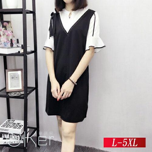 立領拼接繫帶中長款連衣裙L-5XLO-Ker歐珂兒14719-1