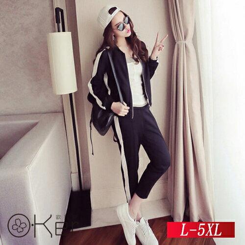 東京酷玩黑白配色俐落休閒運動套裝 L-5XL O-Ker歐珂兒 151139