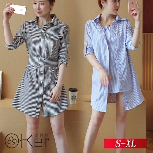 假兩件清新條紋長袖收腰顯瘦連衣裙S-XLO-Ker歐珂兒152970-C