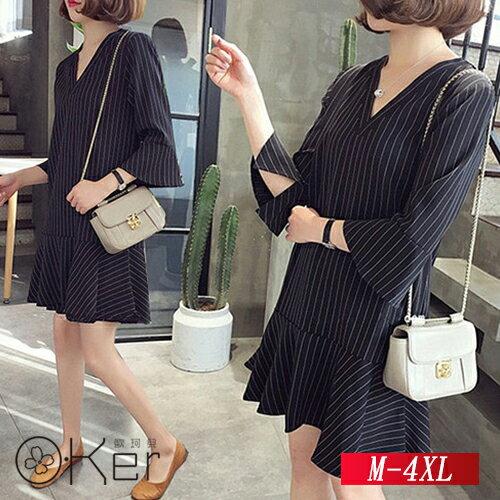 寬鬆條紋V領連衣裙M-4XLO-Ker歐珂兒156218-C