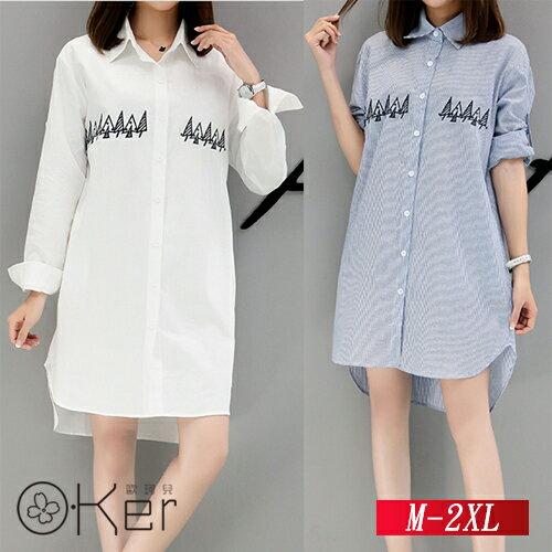 學院風寬鬆長袖純棉刺繡襯衫M-2XLO-Ker歐珂兒157155-C
