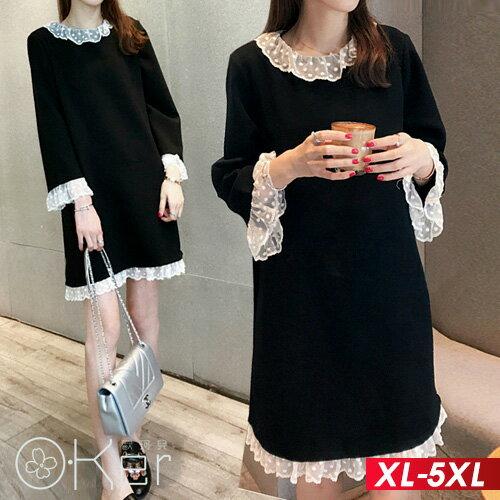 秋冬加厚寬鬆蕾絲花邊打底裙長袖洋裝XL-5XLO-ker歐珂兒153157-C