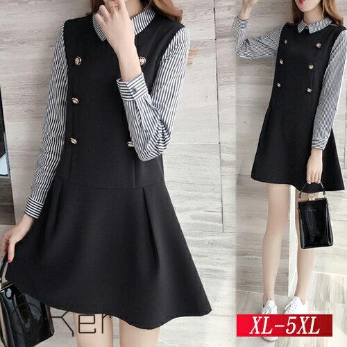 時尚條紋拼接連衣裙XL-5XLO-Ker歐珂兒150952-C