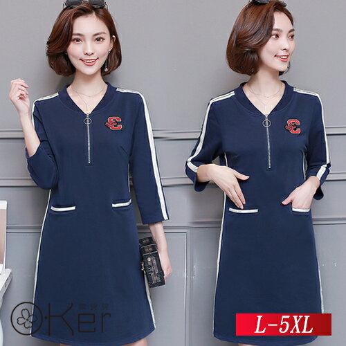 時尚個性休閒連衣裙L-5XLO-Ker歐珂兒151843-C