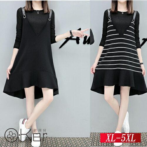 簡單日系圓領上衣+A字吊帶裙XL-5XLO-Ker歐珂兒153061-C