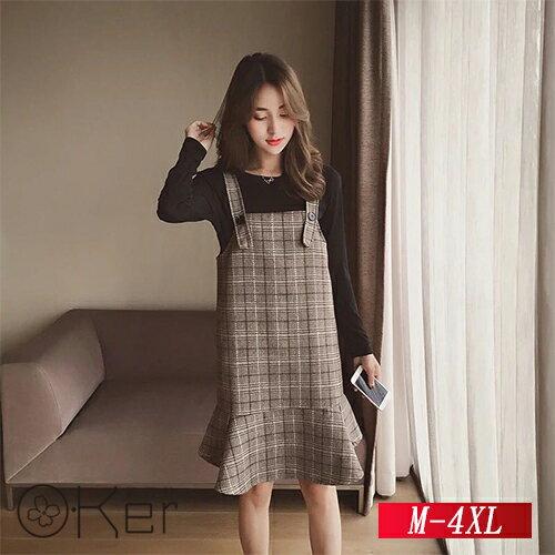 兩件式氣質上衣+荷葉邊格紋A字吊帶裙M-4XLO-Ker歐珂兒153087-C