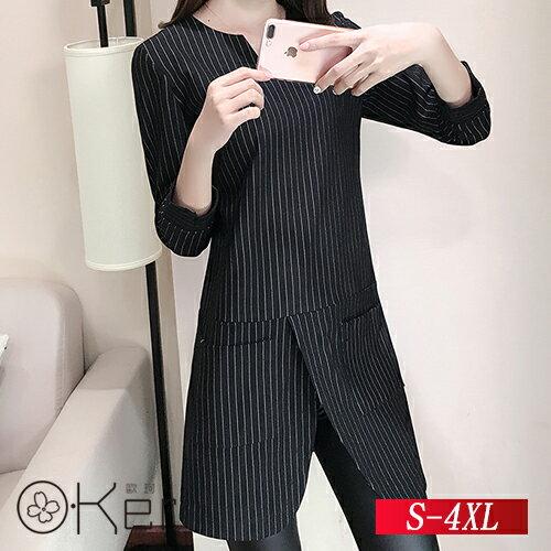 O Ker 歐珂兒:氣質條紋場版上衣S-4XLO-Ker歐珂兒153320
