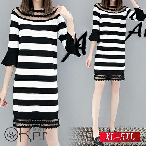 微透膚網紗拼接顯瘦橫條連衣裙XL-5XLO-Ker歐珂兒155007-C