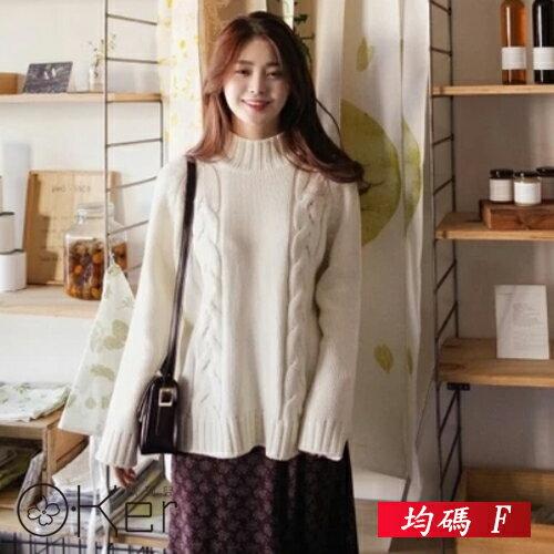 <br/><br/>  套頭學院風麻花高領針織毛衣 均碼 O-Ker歐珂兒 156052<br/><br/>