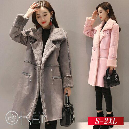 冬季加厚保暖中長款羊羔毛外套S-2XLO-Ker歐珂兒156271-C