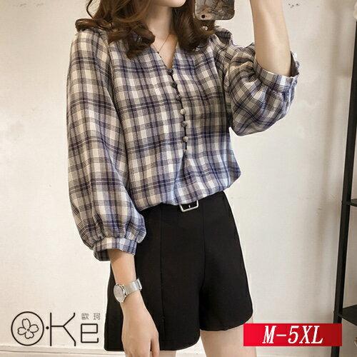 寬鬆燈籠袖七分袖格子襯衫M-5XLO-Ker歐珂兒156637-C